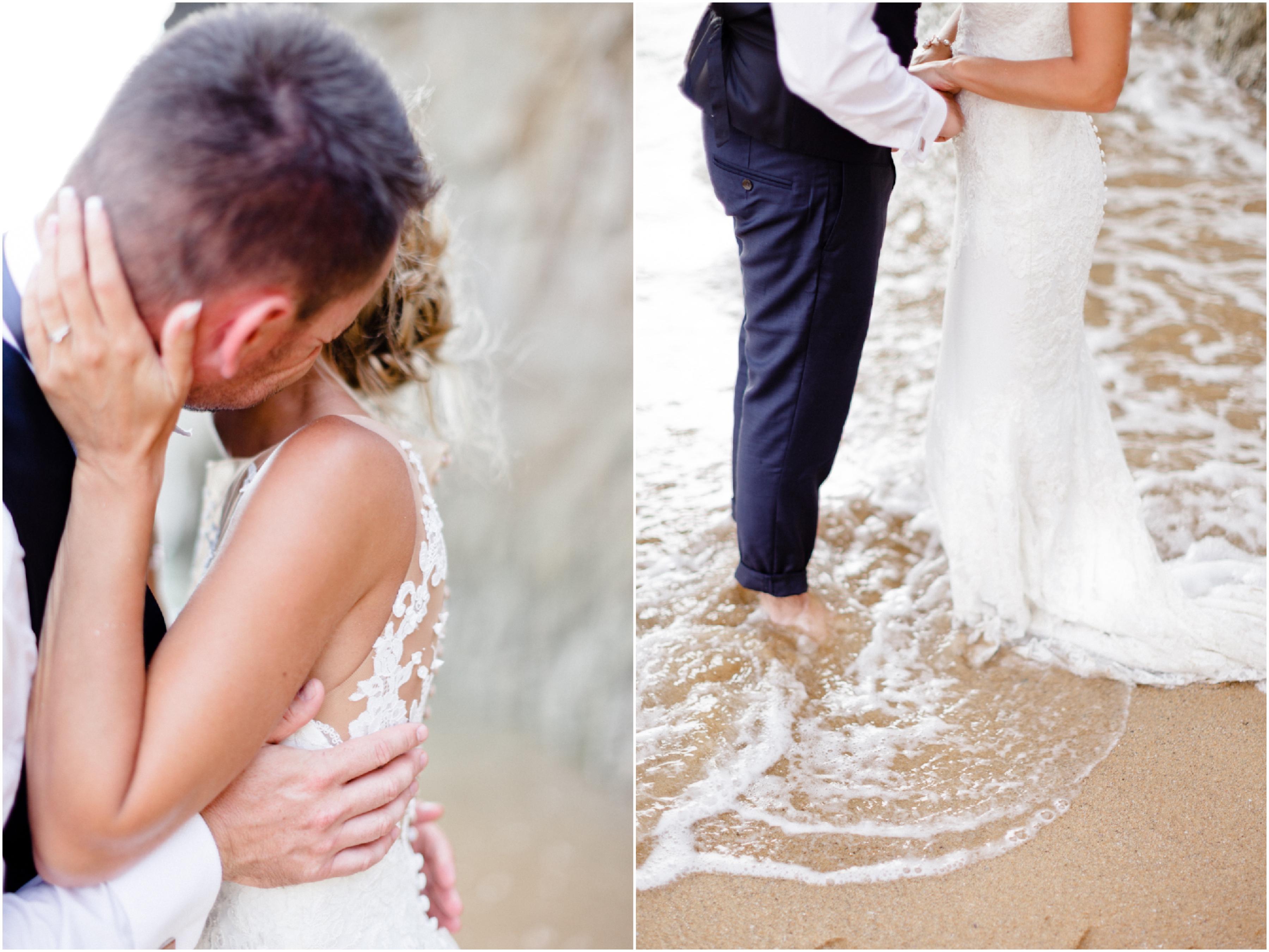 Une robe Pronovias. Photographe de mariage en Bretagne. Séance couple à Quiberon