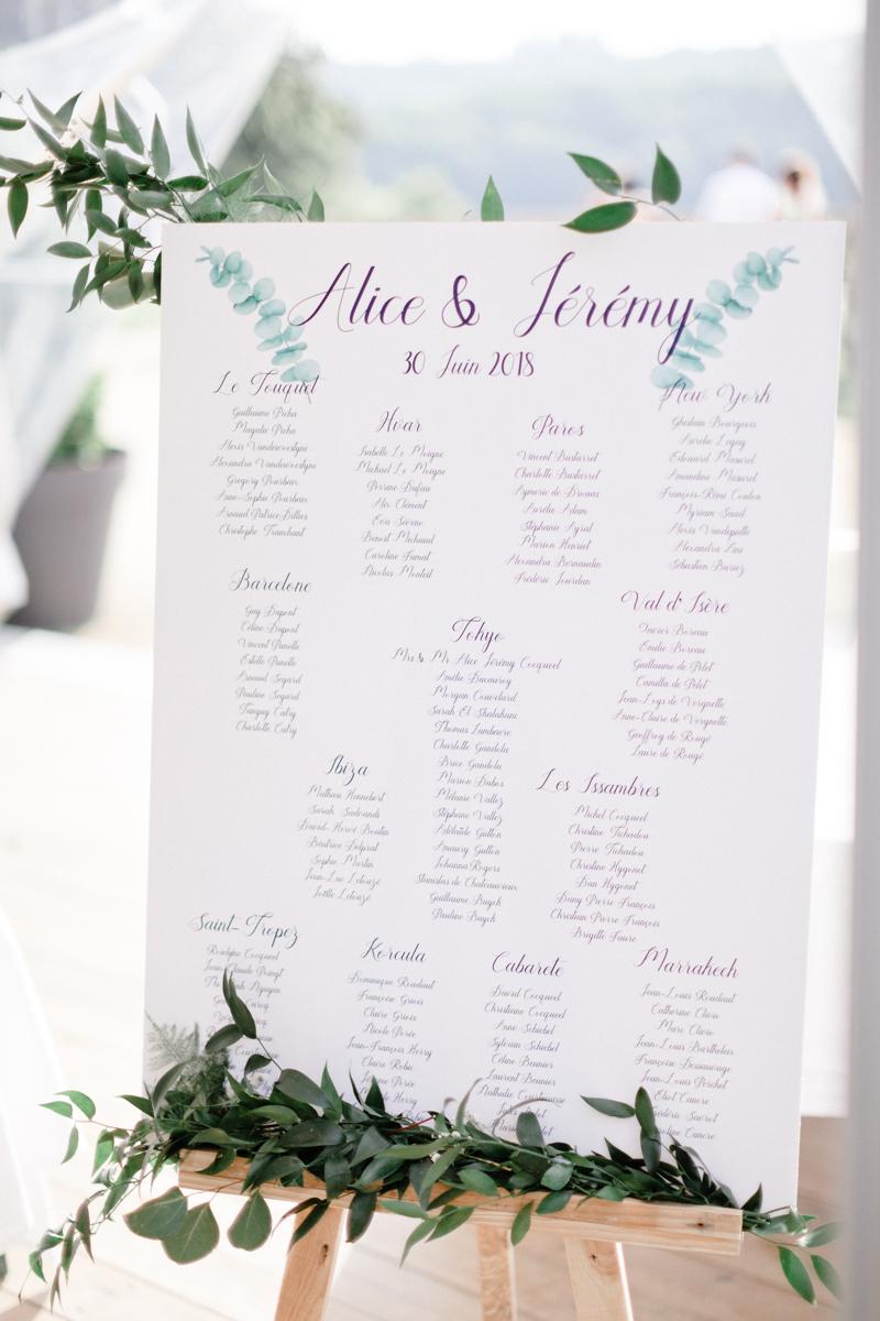 décoration de table d'un mariage. Plan de table