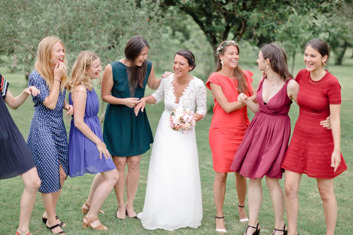 Demoiselles d'honneur d'un mariage.